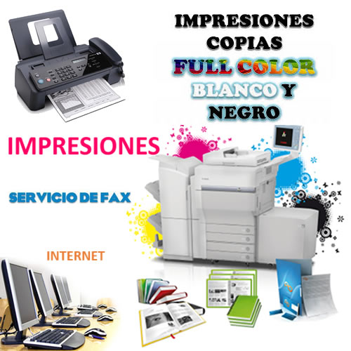 Copias, faxes, internet, impresiones a color y en B n